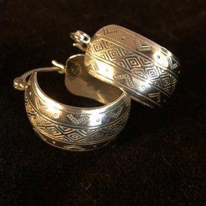 Silver Etched Wedding Band Hoop Earrings